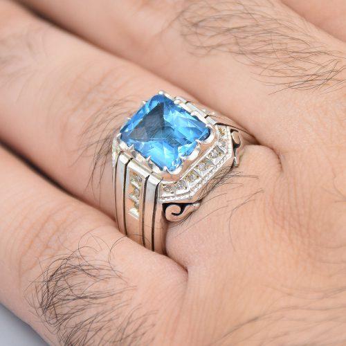 انگشتر توپاز سوئیسی اصل با 20 عدد الماس «کد 2083»